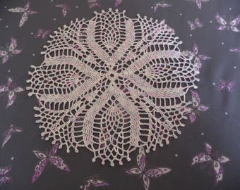 Handmade lace doily in pink blue white nuanced Mercerized cotton.