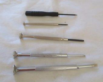 set of 5 precision screwdriver watches, clocks, instruments