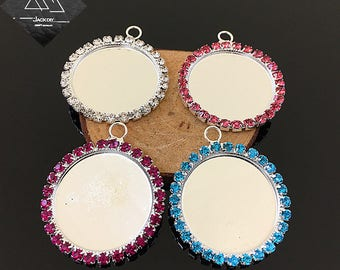 """25mm 1 inch 1″ Single Row Rhinestones Claw Round Pendant Tray Blank Cameo Cabochon Base Setting fit 25mm 1 inch 1"""" Cabochon 10 PCS"""