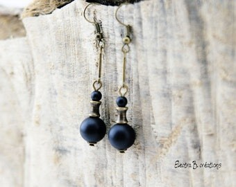 Timeless long black onyx and brass bronze earrings