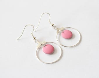 Small hoop earrings with pink button