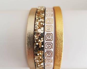 Gold tone leather Cuff Bracelet