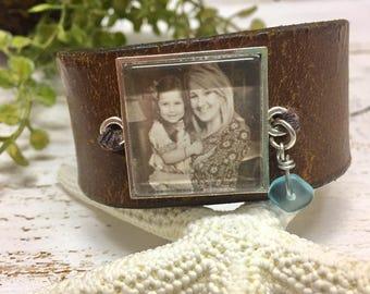Boho Brown Personalized Leather Cuff Bracelet, Photo Jewelry