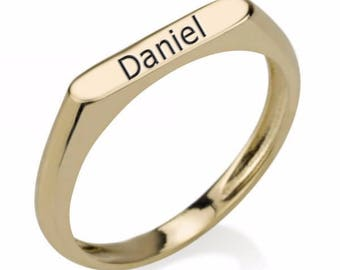 Gold Ring with personalized laser engraving