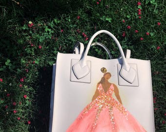 Hand painted fashion couture bag