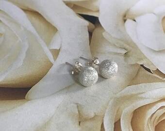 Silver Sparkle Ball Earrings