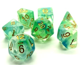Dungeons and Dragons Dice Set - Green Vapor - dnd gift ideas d&d dice d20 die RPG roleplaying Role Playing Games polyhedral Dice Envy gaming