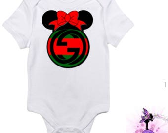 Red and Green Gucci Minnie Mouse with Red Bow Baby Onesie | Babyshower Gift | First Birthday Outfit | Christmas | Disney | Designer Inspired