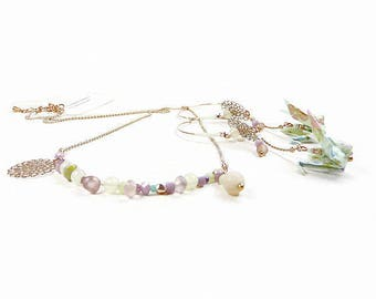 Adornment necklace and rose gold hoop earrings in soft pastel lime green almond origami
