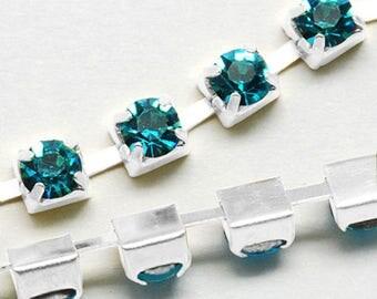 3 mm blue zircon rhinestone silver plated brass chain 50 cm