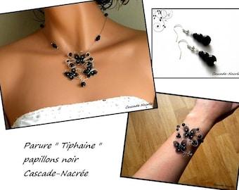 butterflies Tiphaine Silver Black Pearl wedding bridal set