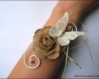 Pearl bracelet wedding Rose linen sisal lace Butterfly Pearl foil