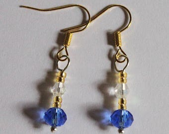 Pair of crystal blue beads dangling earrings gold