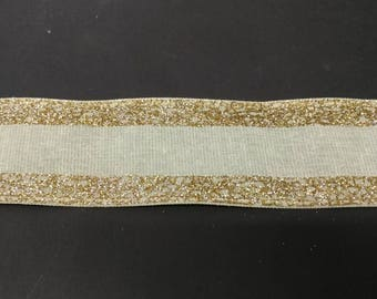 """FREE SHIPPING- 2.5"""" Wired Cream with Gold Glitter Color Block Christmas Ribbon - 5 Yards"""