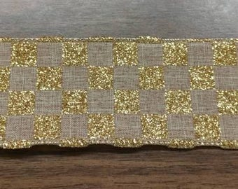 """FREE SHIPPING- 2.5"""" Wired Linen with Gold Glitter Check Christmas Ribbon - 5 Yards"""
