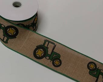 "FREE SHIPPING- 2.5"" Wired Natural Linen Green Tractor Ribbon - John Deere Inspired Ribbon - 5 Yards"