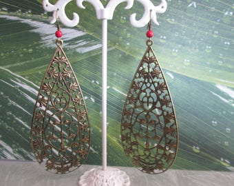 earring long drop print bronze and Pearl red turquoise