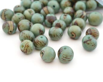 10 Brown turquoise round beads in 6-10mm Acai seeds