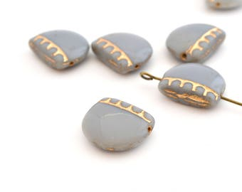 1 Pearl width half circle 14x17mm gold and gray Czech glass