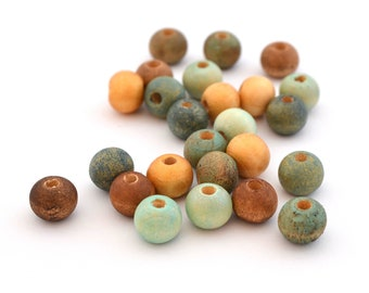 Mix of 25 beads blue, gold and Brown wood 8 mm round
