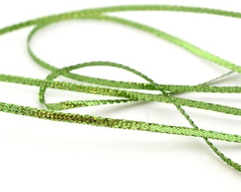 5 M of metallic nylon 3mm Christmas Green Ribbon