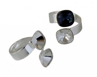 Double tea ring of brass (17.25 mm adjustable) - Swarovski 4470 - 10 mm - Silver clear
