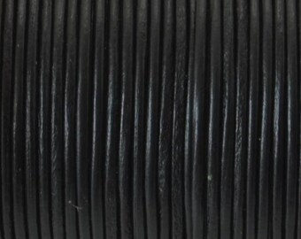 Cord of round leather 1st quality - Made in EU - 1 mm - black - 50cm - CR116NO1016