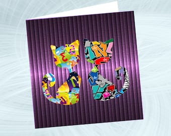 double square card with cat: numbers and letters...