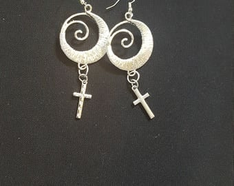 SIlver Swirl Earrigns with Cross