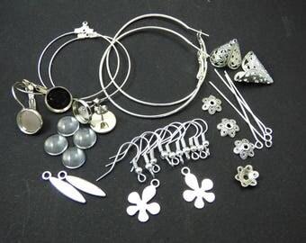 kit créatif boucles d'oreilles argentées