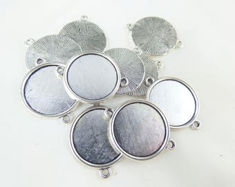 10 supports connectors 20MM silver plated ring
