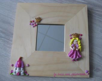 Mirror for bedroom of little princess in polymer clay
