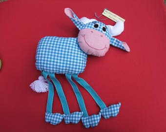 Cow cotton blue gingham, matching Ribbon legs