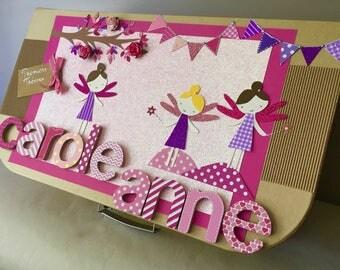 Keepsake box medium - birthday gift - personalized baby gift box - themed fairies (Pink)