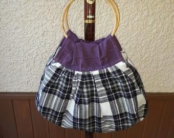 Original handbag in grey and purple cotton.