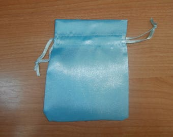 Satin 9x12cm turquoise jewellery pouch