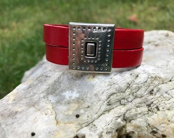 Red 7.5 inch leather cuff bracelet #1