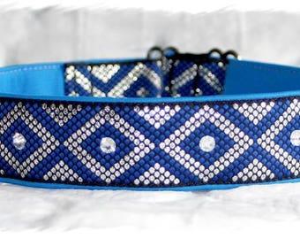 "Dog Collar""Blue Candy"" Jacquard Ribbon Elegant Design for Pet accessories Fashion"