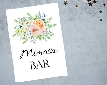 Mimosa Bar Sign 8x10 and 5x7 size Printable PDF, Soft Floral Watercolor Sign, Bridal Shower Sign, Wedding Reception Sign - Printable PDF