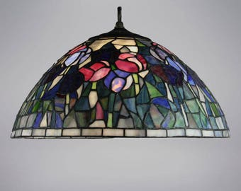 Tulips Flowered Tiffany Style Stained Glass Lamp Shade Handcrafted Cone Shaped Handmade