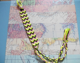 Fluorescent Neon Yellow, Pink and Black Woven Friendship Bracelet