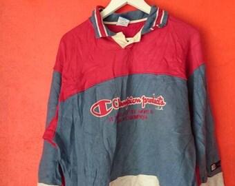 On Sale Vintage Champion Polo Tees Big Logo Embroidery Logo Blocking Colour Size M