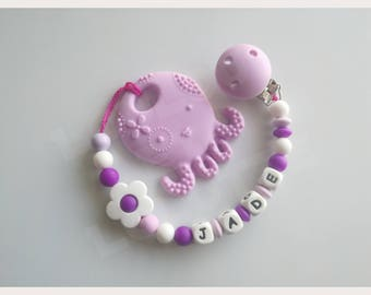 Soother/pacifier personalized silicone + teether/model Jade ring
