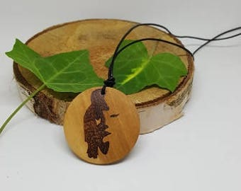 Saxophonist or girl, wooden pendant, pyrography, woodburning, all natural, jewelry, necklace, wood, nature