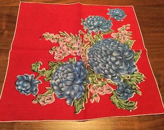 Vintage Women's Handkerchief Red Floral