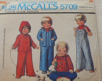 Children's Jacket, Overalls Pattern - Vintage McCalls 5709 - Size 2