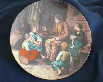 "Vintage Bradford Exchange Collectible Plate (circa 1986) - ""Grandfather Tells a Story"" - Albert Anker"