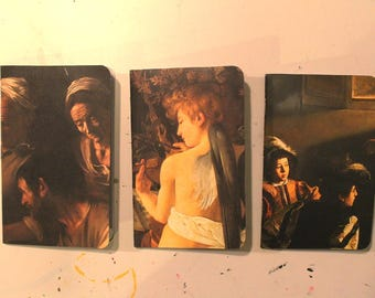 3 Notebook Set: Caravaggio, Size A6 Pocket Notebooks