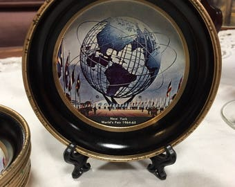 Set of 4 vintage Coasters New York World's Fair 1964-1965 painted tin commemorative coasters UNISPHERE 1961 NYWF Vintage collectible 1960s