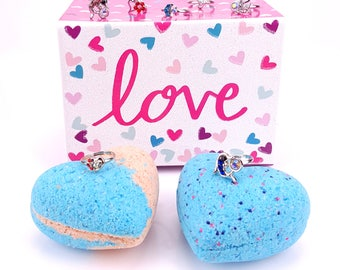 2 3.2oz Kid's Heart Bath Bombs with Surprise Ring Inside and Decorative Box